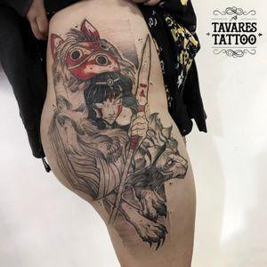 Princess Mononoke. #watercolor #watercolortattoo #aquarela #drawing #dotwork #linework #tattoodo #tattoo2me #anime #manga #gamerink #gamertattoo #mangatattoo #animetattoo #geek #geektattoo #nerdtattoo #electricink #grupoamazon #gamerink #mononoke #mononokehime #animetattoo