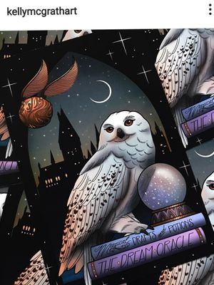 Hedwig and Snitch. By Kelly McGrath. #hedwig #snitch #goldensnitch #owl #snowowl #owltattoo #owltattoodesign #print #design #colorful #colortattoo #colored #sketchbook #illustration #hogwarts #wizard #magic #witch #magicworld #magical #magicalgirl #snitch #quidditch #harrypotter #harrypottertattoo #PotterHead #harrypotterfans #harrypotternerd #nerdytattoo #nerdy #geektattoos #moon #stars #nightsky #night #femaletattooartist #amazingink #beautifultattoo #glass #sparkles #fortuneteller #fortune #jkrowling #KellyMcGrath #loveit #Amazing #amazingtattoos