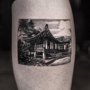 Tattoo by Inal Bersekov #InalBersekov #blackandgrey #realism #realistic #hyperrealism #house #building #Korean #landscape