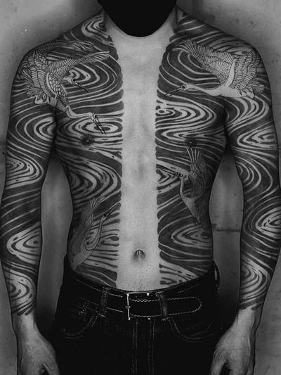 Tattoo by Haku #Haku #naturetattoo #nature #animal #plants #environment #water #river #crane #bird #feathers #bodysuit #sleeves