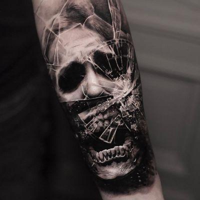 Tattoo by Inal Bersekov #InalBersekov #blackandgrey #realism #realistic #hyperrealism #horror #skull #death #ghost #glass