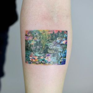 Tattoo by Daldam #Daldam #naturetattoo #nature #animal #plants #environment #monet #waterlilies #pond #flower #floral #lilypad #painting #painterly #expressionism