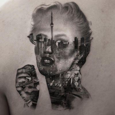 Tattoo by Inal Bersekov #InalBersekov #blackandgrey #realism #realistic #hyperrealism #portrait #ladyhead #lady #cityscape #buildings #architecture