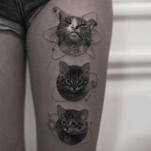 Tattoo by Inal Bersekov #InalBersekov #blackandgrey #realism #realistic #hyperrealism #cat #kitty #petportrait #space #stars #planets