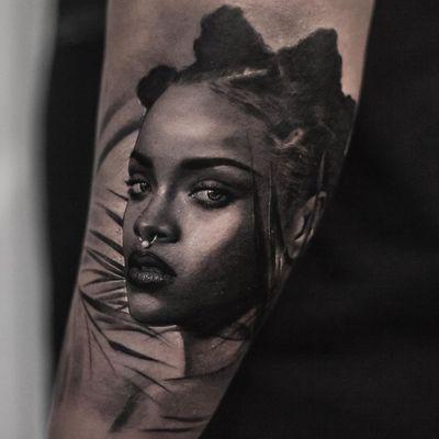 Tattoo by Inal Bersekov #InalBersekov #blackandgrey #realism #realistic #hyperrealism #Rihanna #woman #portrait #music