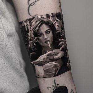 Tattoo by Inal Bersekov #InalBersekov #blackandgrey #realism #realistic #hyperrealism #portrait #lady #ladyhead #cigarette #vintage