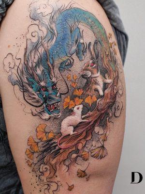 Tattoo by Deborah Genchi #DeborahGenchi #naturetattoo #nature #animal #plants #environment #leaves #mouse #bunny #rabbit #tree #treebranch #dragon #mythicalcreature #chinesezodiac #zodiac