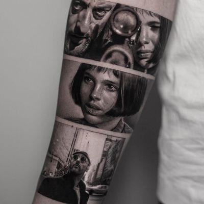 Tattoo by Inal Bersekov #InalBersekov #blackandgrey #realism #realistic #hyperrealism #TheProfessional #film #movie #portrait #NataliePortman #JeanReno #gun #cityscape