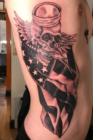 #military #navy #americanflag #blackandgrey #ribtattoo