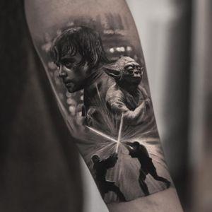 Tattoo by Inal Bersekov #InalBersekov #blackandgrey #realism #realistic #hyperrealism #StarWars #yoda #lightsaber #LukeSkywalker