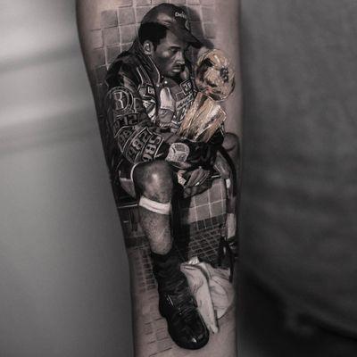 Tattoo by Inal Bersekov #InalBersekov #blackandgrey #realism #realistic #hyperrealism #KobeBryant #basketball #champion #sports #award #trophy