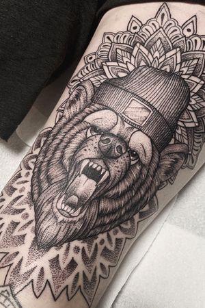 Dotwork mandala grizzly bear