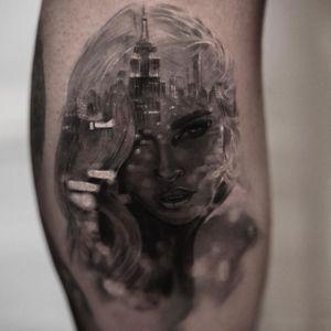 Tattoo by Inal Bersekov #InalBersekov #blackandgrey #realism #realistic #hyperrealism #portrait #cityscape #woman #babe #empirestatebuilding