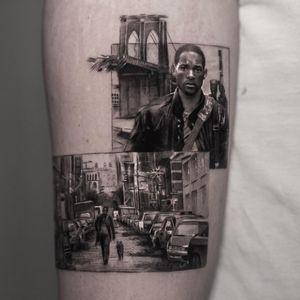 Tattoo by Inal Bersekov #InalBersekov #blackandgrey #realism #realistic #hyperrealism #WillSmith #IAmLegend #landscape #cars #cityscape #movie #film