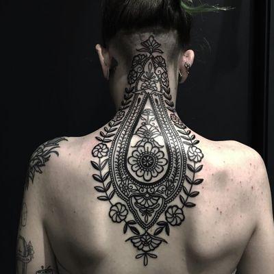 Tattoo by Ciara Havishya #CiaraHavishya #naturetattoo #nature #animal #plants #environment #ornamental #flower #floral #linework #pattern #folkart #folktraditional #leaves