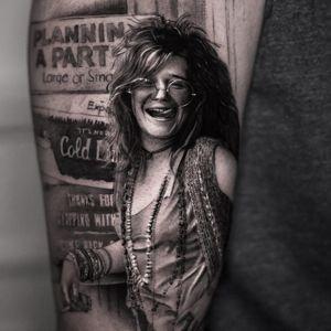 Tattoo by Inal Bersekov #InalBersekov #blackandgrey #realism #realistic #hyperrealism #JanisJoplin #portrait #music