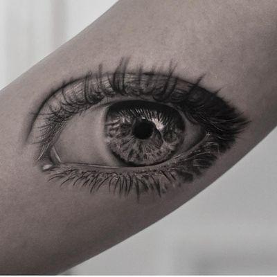 Tattoo by Inal Bersekov #InalBersekov #blackandgrey #realism #realistic #hyperrealism #eye