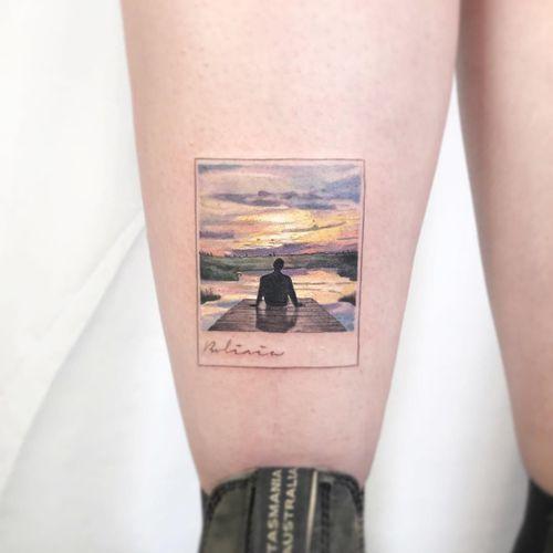 Tattoo by Kozo Tattoo #KozoTattoo #naturetattoo #nature #animal #plants #environment #bolivia #polaroid #sunset #clouds #lake #reflection