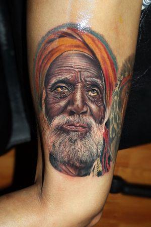 Sad old #ink #indian #portrait #tattoo #tattooart #tattooartist #AlanRamireztattooartist #realism