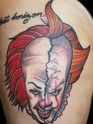 Neo Traditional style Pennywise split on thigh