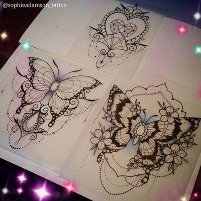 Butterflies. #butterflytattoo @Sophie Adamson. #favorite #femaletattooartist #butterflytattoos #Butterflies #butterfly #insecttattoo #insects #neotraditional #neotraditionaltattoo #neotrad #linework #fineline #blackline #ornamental #ornamentaltattoo #ornament #ornaments #dots #dotworktattoo #dotwork #floral #nature #naturetattoo #heart #diamondtattoo #diamond #DiamondHeartTattoo #necklace #jewelry #jewels #jewel #pearls #dream #fantastic #amazingink #stunning #beautiful #girly #girlytattoo #girl #cutetattoo #cute #sketch #sketchbook #design #illustration