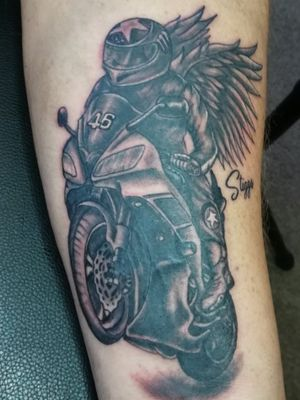 An awesome memorial piece for a lost brother. #meaningfultattoo #bikertattoo #46 #candyinktattoos #mypassion