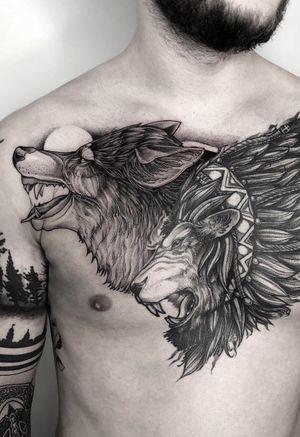 #wolf #lion #chesttattoo #bigtattoo #blackworktattoo #graphictattoo #dotwork
