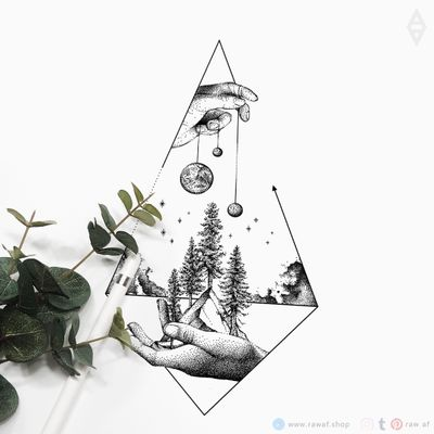 In your hands - limited tattoo design, only one download available. Be the fastest and get this design, then it'll become unavailable for others. www.rawaf.shop/tattoo/limited 🖤 #dotwork #galaxy #nature #mountain #geometric #blackwork #black #blackandgrey