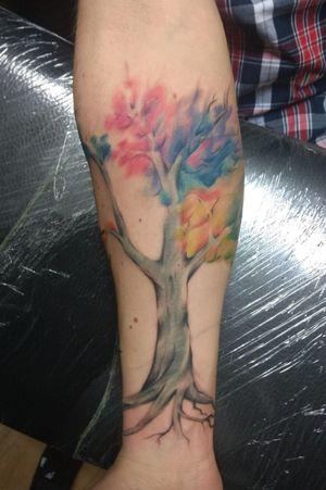 #inprogresstattoo #tree #treetattoo #inktowntattoocompany #tree #colourtattoos #freehand #freehandtattoo #dnestetujem #opava #opavatattoo #fv_tattoo