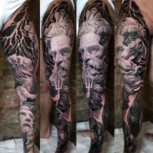 Black and grey full leg sleeve Greek and Roman mithology in progress