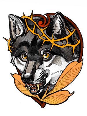 #wolf #wolfhead #thorns #crownofthorns  #leaves #berlin