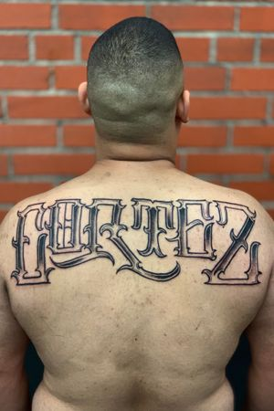 Freehand lettring for my client albert! Thanks homie!! Hit me up for for questions or pricing! #lettering #letteringtattoo #chicano #freehand #blackandgrey #script