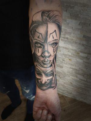 #blackandgreytattoo #realismtattoo #realism #woman #facetattoo #masktattoo #anonymous #tattoosession #tattoo #tattooist #rotaryone #rotarytattoomachine #dynamicink #nuclearwhiteink #kvadronneedles #art #artist #tattooart #tattooartist