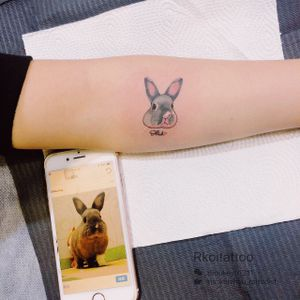 The guests said that her rabbit character is like a dog#watercolortattoo#rabbittattoo#cutetattoo#melbournetattoo#melbournetattooartist