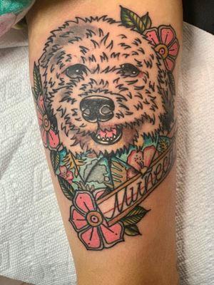 Hawaiian doggy!!!! With that tommy bahama shirt!!!! #neotraditional #neotraditionaltattoo #colortattoo #dog #traditional #traditionaltattoo #HoustonTexans #doggy #guyswithtattoos #girlswithtattoos