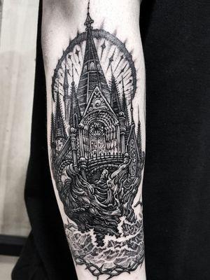 dark castle! #blackwork #blackworktattoo #busantattoo #dotwork #KoreanArtist #busan #blackworks #castle #castletattoo #blackworkcastle