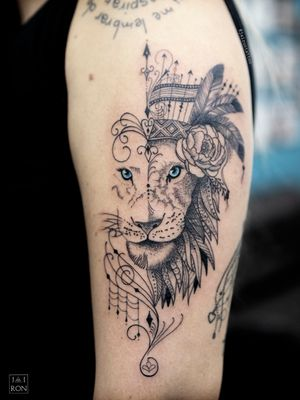 Ornamental Lion #ornamentaltattoo #liontattoo #femalelion #lineworktattoo #leaotattoo