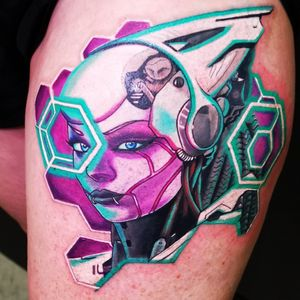 Cyberpunk style tattoo I did on day 2 at the Sydney Tattoo Expo 2019