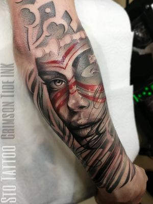 Beautiful piece from Native American sleeve🔥 To book your tattoo with us, send your enquiry via our web: www.tattooinlondon.com Or call 02086821185 Open Thursday to Monday South West London, Tooting #uktattoo #crimsontideink #ctilondon #tattoorealistic #nativeamericangirl  #londontattoos #londontattooartist  #tootingtattoo #killerink #nativeamericantattoo #dailytattoos #london #inked #blackandgreytattoo #beautifultattoo #blackandgreyrealism #sleevetattoo #тату #татуировка #русскийлондон #tattoogram