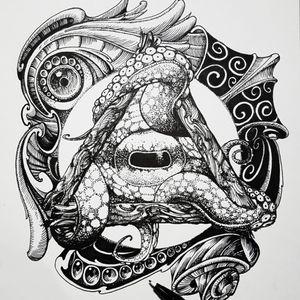 Octopus concept art #blackwork #blackworktattoo #busantattoo #dotwork #KoreanArtist #busan #blackworks