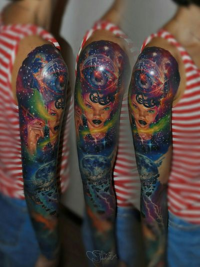 Realistic tattoo with cosmic girl. #realismtattoo #realistic #realism #cosmos #cosmostattoo #cosmictattoo #girl #space #spacetattoo #spacegirl