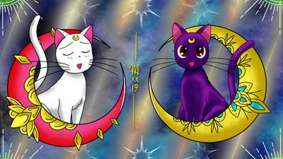 """Sailor Moon """"Artemis & Luna"""" design's available to be tattooed!! Prints will be available for purchase at the @villainarts Tattoo Arts Convention in Chicago, Illinois this upcoming weekend March 22nd-24th!! #solidink #meekBtattoos #sandiego #california #trad #traditional #traditionaltattoo #color #BoldTattoos #life ##hivecaps #fkirons #neotraditional #neotraditionaltattoo #thebvcklinecollective #sailormoon #luna #artemis #anime #toonami #flash #art #wip #animetattoo #chicago #villianarts"""