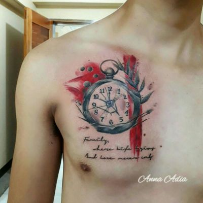 """""""Sometimes I feel like if you just watch things, just sit still and let the world exist in front of you - sometimes I swear that just for a second time freezes and the world pauses in its tilt. """" Done for Angelo, a loyal client.. 🙂🙂 #Abstract #AbstractTattoo #Clock #Time #ClockTattoo #TrashPolka #FreeColors #Aqua #aquarelle #femaletattooartist #Femaletattooist #Beauty #SirensAndSorciere"""