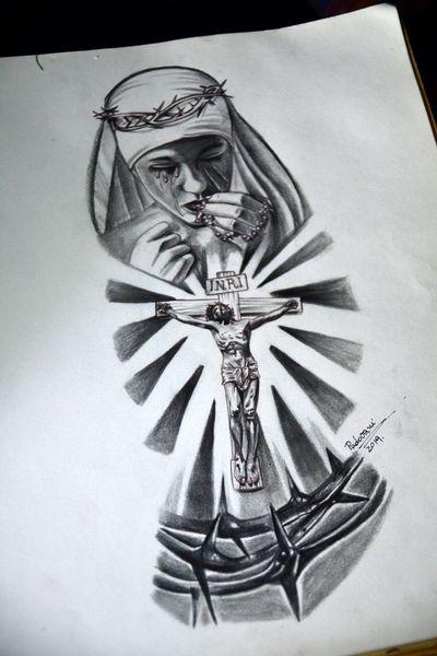 #jesus #christ #crucifixo #crucifix #maria #mary #coroadeespinho #thorncrown #blackandgrey #tattoosketch #thiagopadovani #mementomoritattoostudio