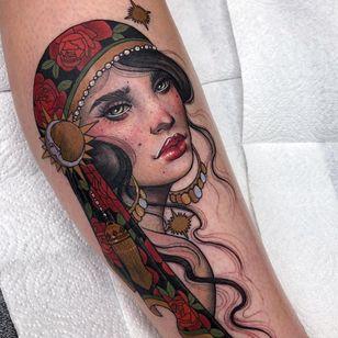 Tattoo by Hannah Flowers #HannahFlowers #portraittattoos #portrait #face #artnouveau #neotraditional #ladyhead #lady #beauty #moon #gypsy