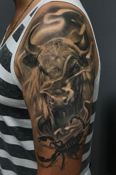 #healed #blackandgrey #realism #animal #halfsleeve #bull #scorpion #taurus #scorpio #smoke