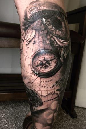 Eye Compass black and gray realism chicano blackwork korean