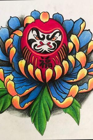 Daruma by me #floridatattooartist #daruma #femaletattooartist #asianstyle #colortattoo
