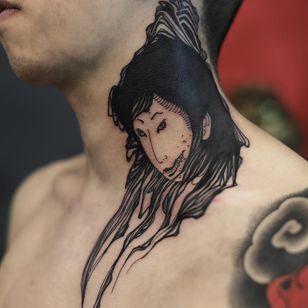 Tattoo by Damien J Thorn #DamienJThorn #portraittattoos #portrait #face #blackwork #illustrative #yokai #demon #lady #ladyhead