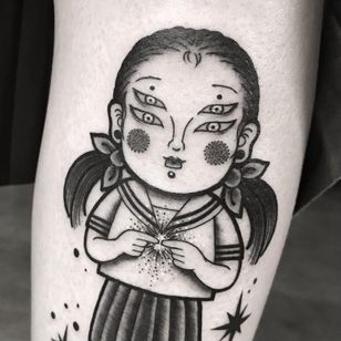 Tattoo by Mika Baby #MikaBaby #portraittattoos #portrait #face #anime #manga #cute #star #surreal #strange